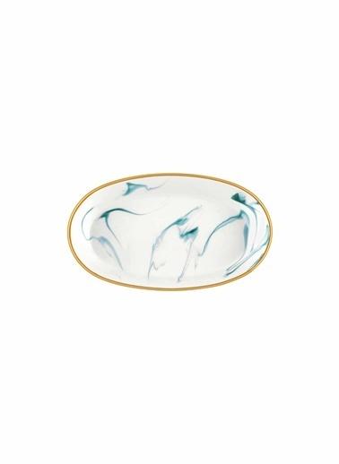 The Mia Lucid Oval Servis -4Lü Set -10X17X4Cm Cam Göbeği Mavi
